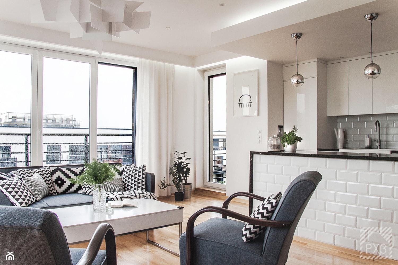 Mieszkanie Art Deco - Średni biały salon z kuchnią, styl art deco - zdjęcie od PX3 Pracownia Projektowa Prokopowicz - Homebook