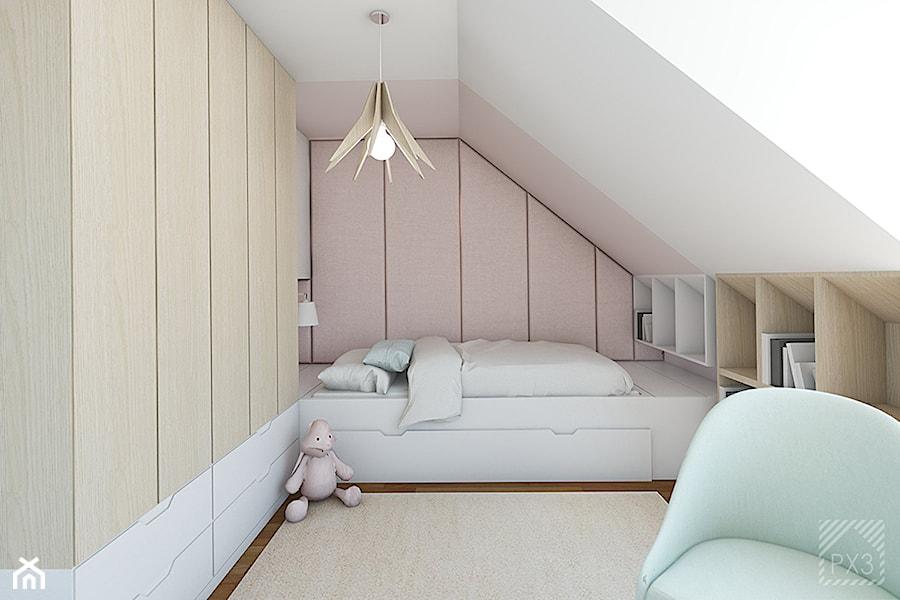 Pudrowo-miętowy pokój 6-letniej Zosi - Mały biały różowy pokój dziecka dla chłopca dla dziewczynki dla ucznia dla nastolatka, styl nowoczesny - zdjęcie od PX3 Pracownia Projektowa Prokopowicz