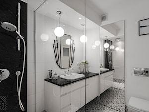 Mieszkanie Art Deco - Średnia biała łazienka na poddaszu w bloku w domu jednorodzinnym bez okna, styl art deco - zdjęcie od PX3 Pracownia Projektowa Prokopowicz
