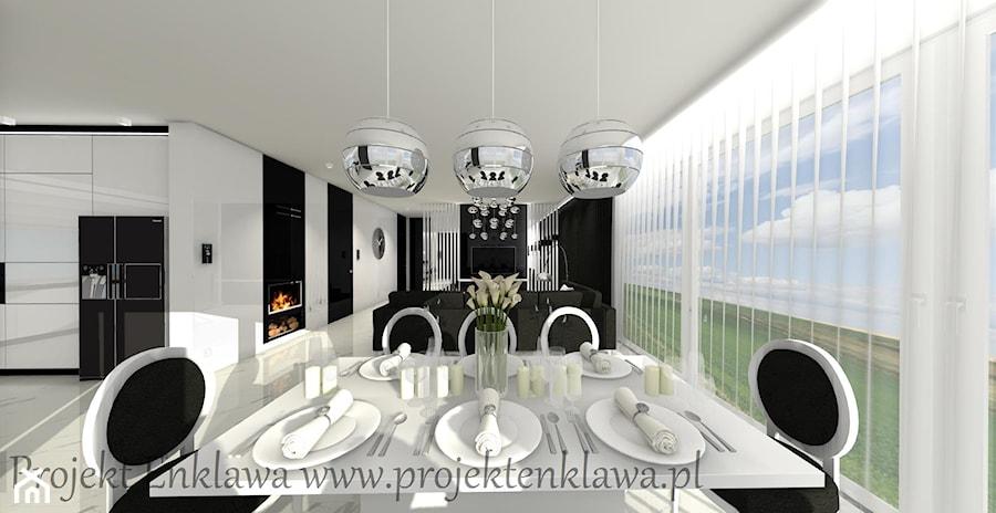 Salon - Duży biały czarny salon z kuchnią z jadalnią, styl glamour - zdjęcie od PROJEKT ENKLAWA