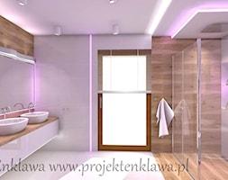 Łazienka - Średnia fioletowa łazienka na poddaszu w bloku w domu jednorodzinnym z oknem, styl nowoczesny - zdjęcie od PROJEKT ENKLAWA