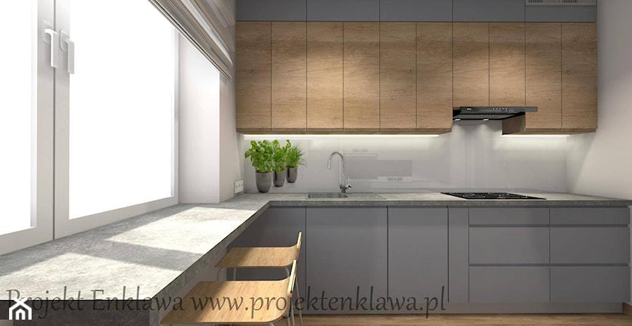 Salon - Średnia biała kuchnia w kształcie litery l w aneksie z oknem, styl nowoczesny - zdjęcie od PROJEKT ENKLAWA