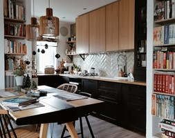 Kuchnia+w+bloku+czer%C5%84+i+drewno.+Kuchnia+Ikea+-+zdj%C4%99cie+od+Olga+Drozd