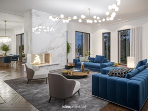 Apartament na warszawskiej Saskiej Kępie - Duży biały salon z jadalnią z tarasem / balkonem, styl glamour - zdjęcie od idea projekt