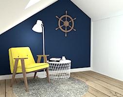 Nadmorski klimat III - Mały biały niebieski pokój dziecka dla chłopca dla dziewczynki dla malucha dla nastolatka, styl skandynawski - zdjęcie od idea projekt