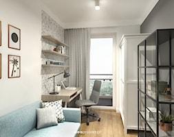 Grafit - Średnie szare biuro domowe kącik do pracy w pokoju, styl skandynawski - zdjęcie od idea projekt