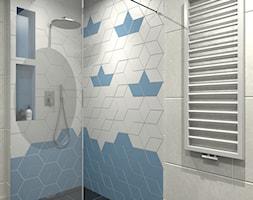 Nadmorski klimat II - Mała niebieska szara łazienka w bloku w domu jednorodzinnym bez okna, styl sk ... - zdjęcie od idea projekt - Homebook