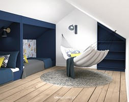 Nadmorski klimat III - Mały biały niebieski pokój dziecka dla chłopca dla dziewczynki dla nastolatka - zdjęcie od idea projekt