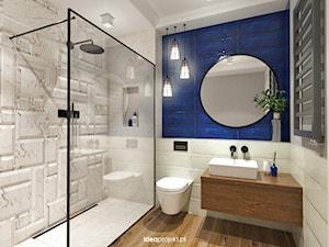 Mieszkanie letnie - Średnia biała niebieska łazienka bez okna, styl eklektyczny - zdjęcie od idea projekt