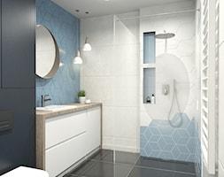 Nadmorski klimat II - Mała czarna niebieska łazienka w bloku w domu jednorodzinnym bez okna, styl s ... - zdjęcie od idea projekt - Homebook