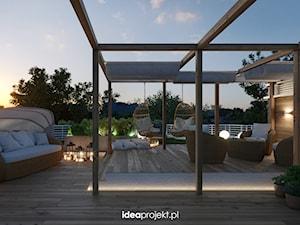 Aranżacja tasu na dachu - Duży taras z przodu domu z tyłu domu, styl włoski - zdjęcie od idea projekt