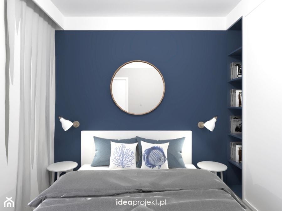 Nadmorski klimat II - Mała niebieska sypialnia małżeńska, styl skandynawski - zdjęcie od idea projekt