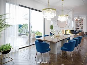 Apartament na warszawskiej Saskiej Kępie - Duża otwarta biała jadalnia jako osobne pomieszczenie, styl glamour - zdjęcie od idea projekt