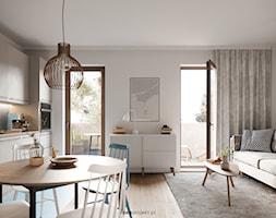 Nautikka - SCANDI - Mały biały salon z kuchnią z jadalnią z tarasem / balkonem, styl skandynawski - zdjęcie od idea projekt - Homebook