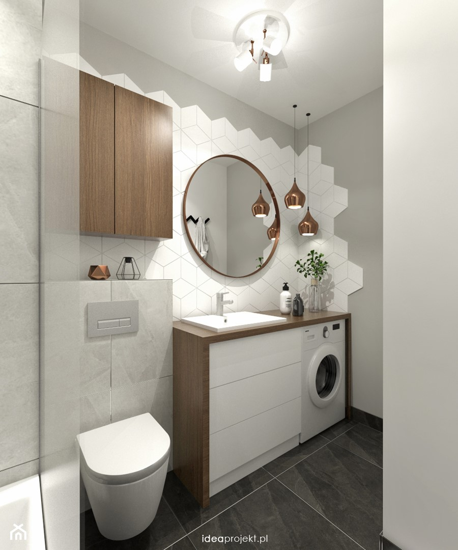 Grafit - Średnia biała szara łazienka bez okna, styl skandynawski - zdjęcie od idea projekt