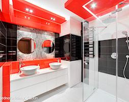 dom jednorodzinny Lublin - Średnia łazienka w domu jednorodzinnym bez okna, styl nowoczesny - zdjęcie od Auraprojekt