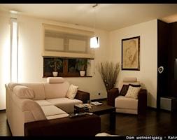 Dom jednorodzinny Kalinówka - Średni biały czarny salon, styl minimalistyczny - zdjęcie od Auraprojekt
