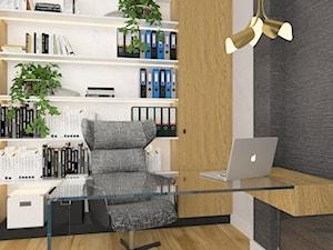 Projektowanie wnętrz Kraków -domowe biuro - Średnie szare białe biuro domowe w pokoju, styl nowoczesny - zdjęcie od 3ESDESIGN