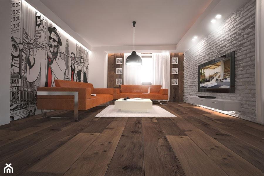 Projekt aranżacji domu - Duży biały salon, styl nowoczesny - zdjęcie od 3ESDESIGN
