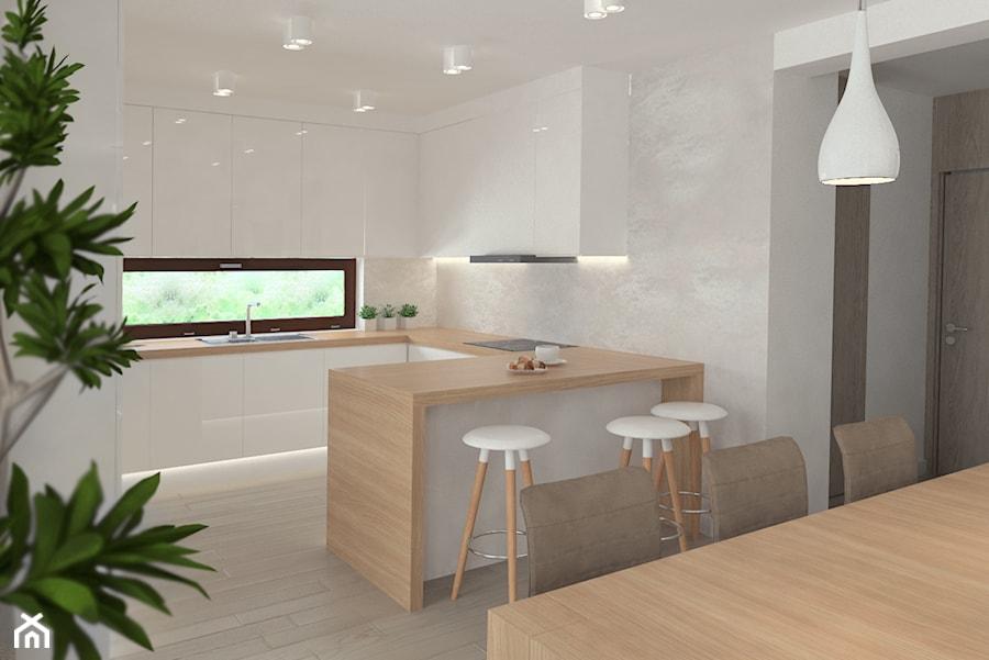 Beż we wnętrzach -Projektowanie wnętrz Kraków - Średnia otwarta szara kuchnia w kształcie litery g z oknem, styl skandynawski - zdjęcie od 3ESDESIGN