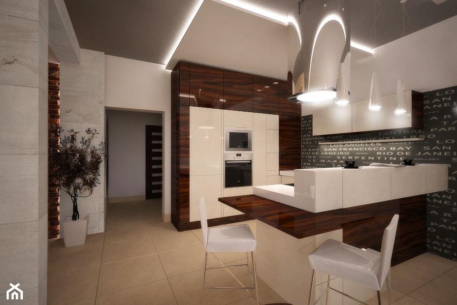 Projekt aranżacji domu_Tychy - Duża otwarta beżowa kuchnia w kształcie litery u z wyspą, styl nowoczesny - zdjęcie od 3ESDESIGN