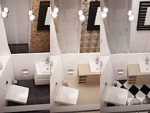 Projekt łazienki Kraków -jedna łazienka w trzech odsłonach - Mała biała łazienka bez okna, styl eklektyczny - zdjęcie od 3ESDESIGN