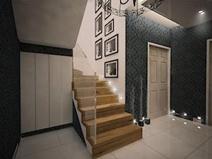 """""""Ponadczasoprzestrzenność tapety"""" - Średnie szerokie schody zabiegowe z materiałów mieszanych, styl eklektyczny - zdjęcie od 3ESDESIGN"""