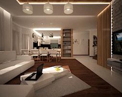 Projekt aranżacji wnętrz_Dom Tarnów - Duży biały salon z kuchnią z jadalnią, styl nowoczesny - zdjęcie od 3ESDESIGN