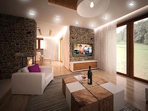 Salon z kuchnia w otwartej przestrzeni