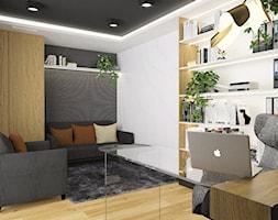 Projektowanie wnętrz Kraków -domowe biuro - Średnie szare białe biuro domowe w pokoju, styl tradycyjny - zdjęcie od 3ESDESIGN
