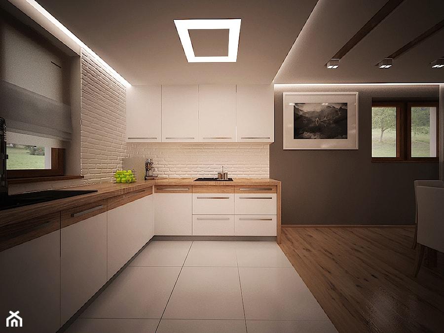 aranżacja domu - Duża otwarta biała kuchnia w kształcie litery u w aneksie, styl nowoczesny - zdjęcie od 3ESDESIGN