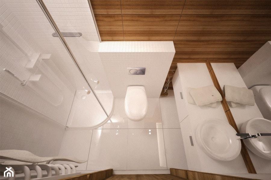 mała łazienka z prysznicem, biała mozaika, płytki ścienne o fakturze drewna, biały blat podumywalkowy