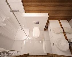 Mała biała brązowa łazienka, styl minimalistyczny - zdjęcie od 3ESDESIGN