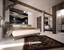 Duża biała sypialnia małżeńska na poddaszu z łazienką, styl tradycyjny - zdjęcie od 3ESDESIGN