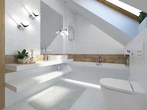 Aranżacja łazienki Katowice - Mała łazienka na poddaszu w domu jednorodzinnym z oknem, styl nowoczesny - zdjęcie od 3ESDESIGN