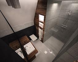 Łazienka dla niepokornych - Mała łazienka w bloku bez okna, styl minimalistyczny - zdjęcie od 3ESDESIGN