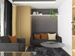 Projektowanie wnętrz Kraków -domowe biuro - Małe szare białe biuro domowe w pokoju, styl tradycyjny - zdjęcie od 3ESDESIGN