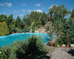 Śródziemnomorski ogród - Duży ogród za domem tropikalny z basenem - zdjęcie od Marcin Sumiła