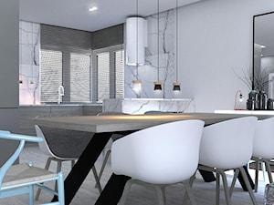 W STYLU SKANDYNAWSKIM - Mała otwarta szara jadalnia w kuchni, styl skandynawski - zdjęcie od gradomska architekci