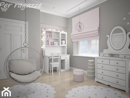 Aranżacje wnętrz - Pokój dziecka: Białe meble dla dziewczynki - Średni szary pastelowy różowy pokój dziecka dla dziewczynki dla nastol ... - perragazze.pl. Przeglądaj, dodawaj i zapisuj najlepsze zdjęcia, pomysły i inspiracje designerskie. W bazie mamy już prawie milion fotografii!