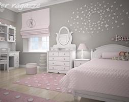 Duży szary pokój dziecka dla dziewczynki dla ucznia dla nastolatka - zdjęcie od perragazze.pl