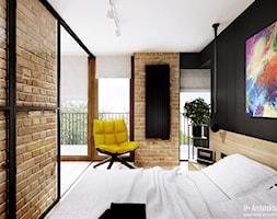 Śmiałego   Lublin - Mała czarna sypialnia małżeńska z balkonem / tarasem, styl nowoczesny - zdjęcie od H+ Architektura - Homebook