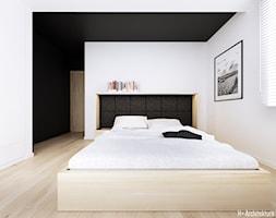 Konwaliowa 02   Turka - Średnia biała czarna sypialnia małżeńska, styl nowoczesny - zdjęcie od H+ Architektura - Homebook