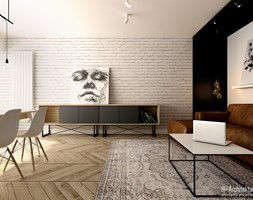 Salon+kompozycja+mebli+i+ceglanej+%C5%9Bciany+-+zdj%C4%99cie+od+H%2B+Architektura
