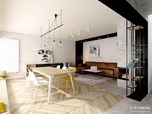 Widok na salon i jadalnię - zdjęcie od H+ Architektura