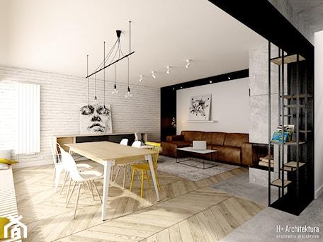 Aranżacje wnętrz - Jadalnia: Widok na salon i jadalnię - H+ Architektura. Przeglądaj, dodawaj i zapisuj najlepsze zdjęcia, pomysły i inspiracje designerskie. W bazie mamy już prawie milion fotografii!