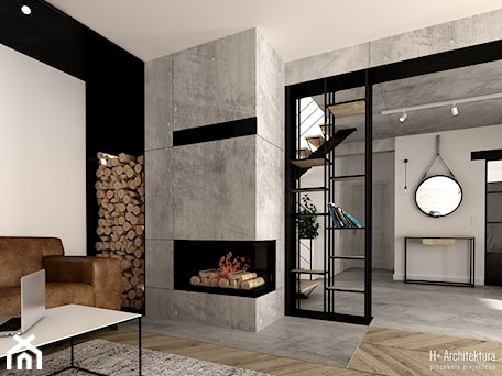 Aranżacje wnętrz - Salon: Kominek w salonie - H+ Architektura. Przeglądaj, dodawaj i zapisuj najlepsze zdjęcia, pomysły i inspiracje designerskie. W bazie mamy już prawie milion fotografii!