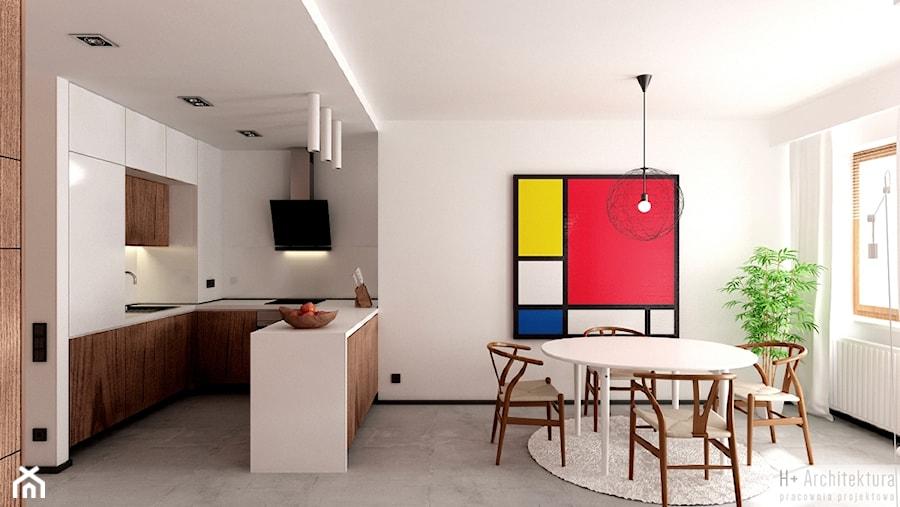 Potokowa | Wrocław - Średnia otwarta biała jadalnia w salonie, styl nowoczesny - zdjęcie od H+ Architektura