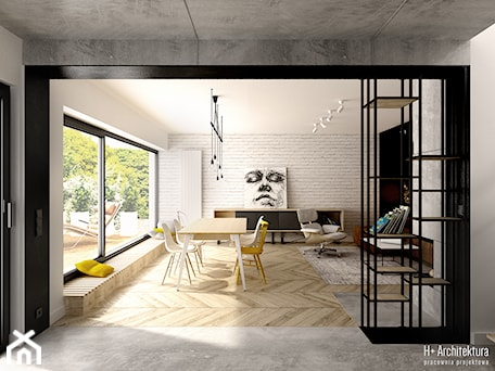 Aranżacje wnętrz - Salon: Widok na salon z holu wejściowego - H+ Architektura. Przeglądaj, dodawaj i zapisuj najlepsze zdjęcia, pomysły i inspiracje designerskie. W bazie mamy już prawie milion fotografii!