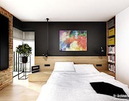 Śmiałego   Lublin - Średnia czarna sypialnia małżeńska, styl nowoczesny - zdjęcie od H+ Architektura - Homebook